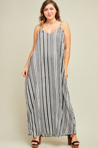 Black Striped Maxi Dress - Liz & Addie
