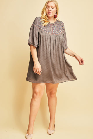 Charcoal Dotted-Swiss Dress - Liz & Addie