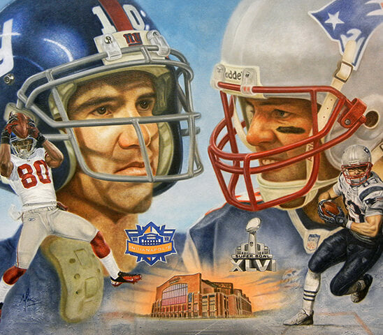 Tom Brady & Manning - Oil on Canvas 24x32