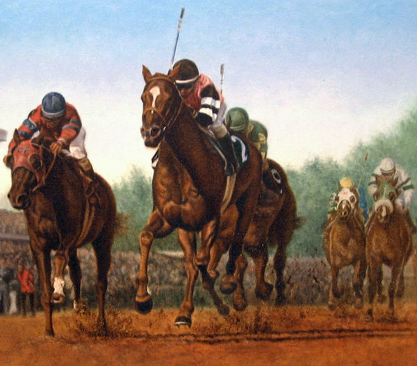 Affirmed vs Alydar - Oil on Canvas 18x30