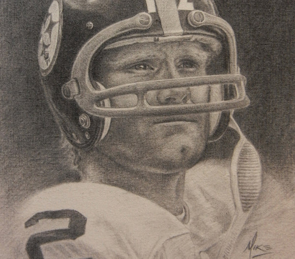 Terry Bradshaw - Graphite on Raw Canvas 12x15