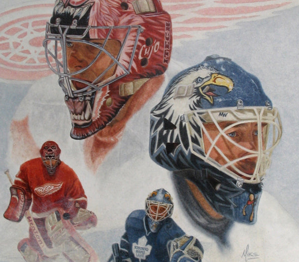"Curtis ""Cujo"" Joseph & Ed Belfour - Oil on Illustration Board 12x17"