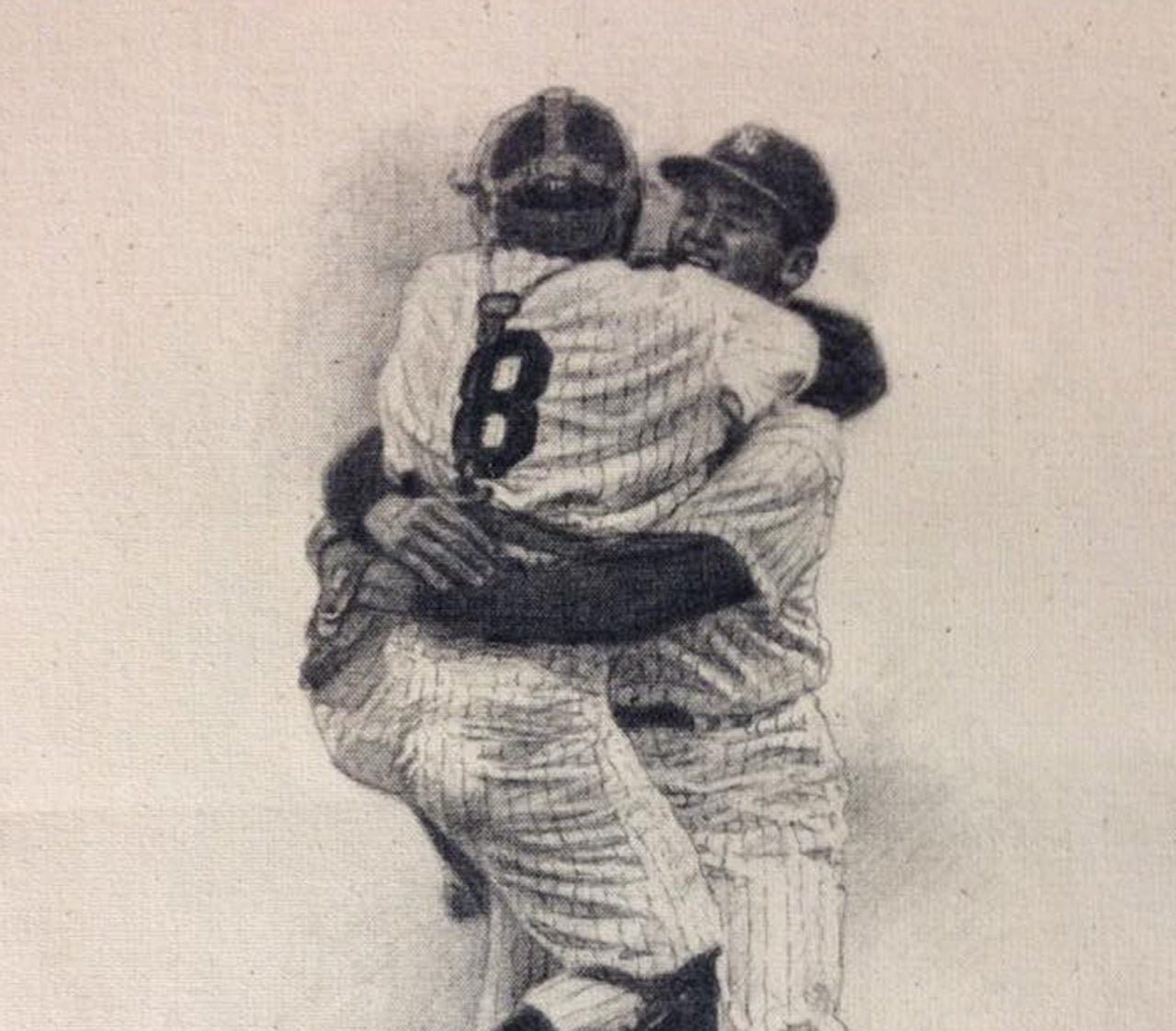 Don Larsen/Yogi Berra Perfect Game - Graphite on Raw Canvas 11x14