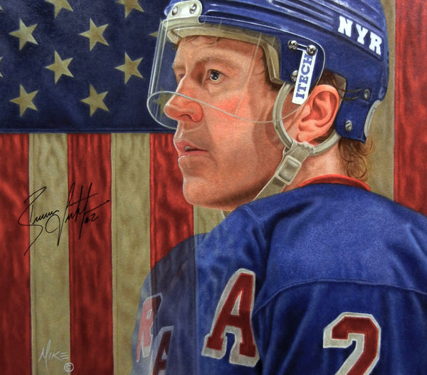 Brian Leetch - Oil on Illustration Board 33x40 - Signed by Leetch