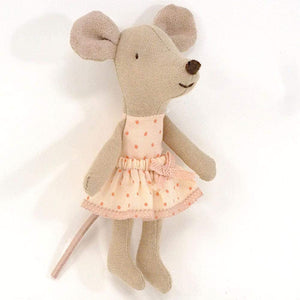 Maileg, little sister mouse in box - pink dots dress