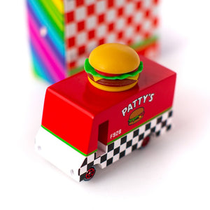 Candylab, houten auto - Patty's Hamburger van