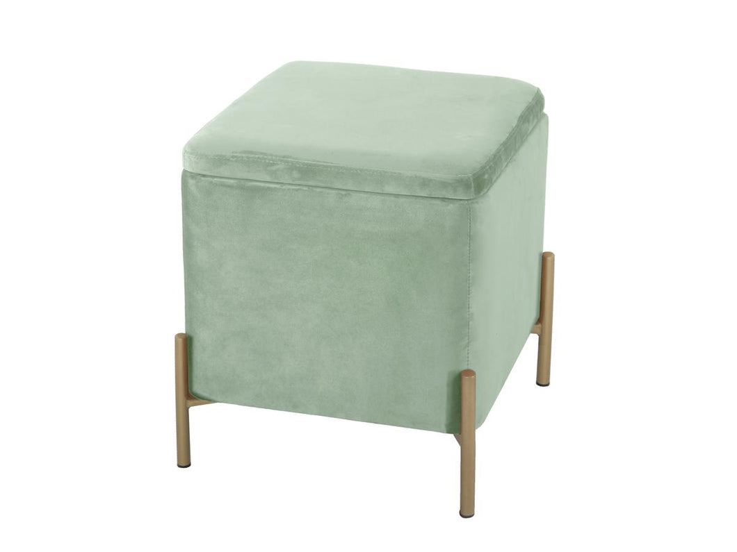 LM, velvet storage poof - jade green