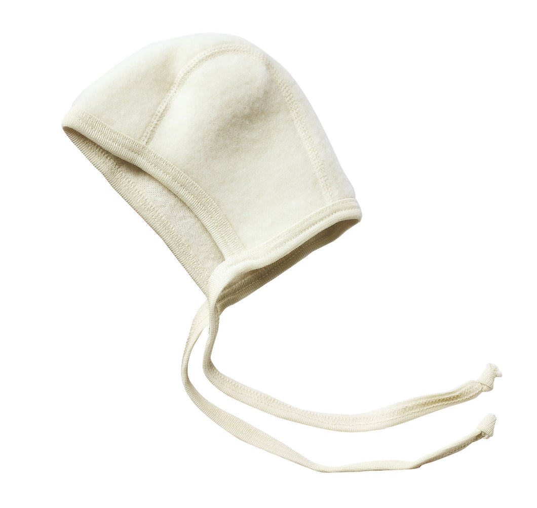 Engel Natur, wol-fleece bonnet - natural