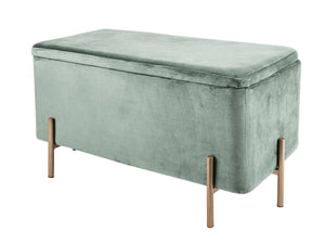 LM, velvet storage bench - jade green