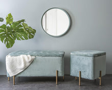 Afbeelding in Gallery-weergave laden, LM, velvet storage bench - jade green