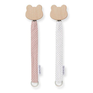 Liewood, set van 2 speenkoorden - little dot rose & creme