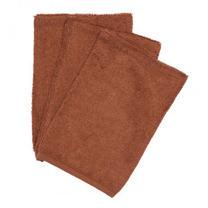 Timboo, set van 3 washandjes - hazel brown