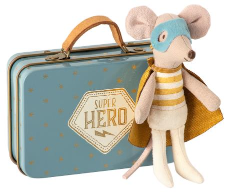Maileg, superhero mouse in suitcase