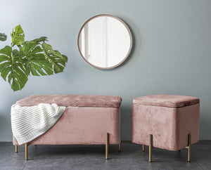 LM, velvet storage bench - faded pink