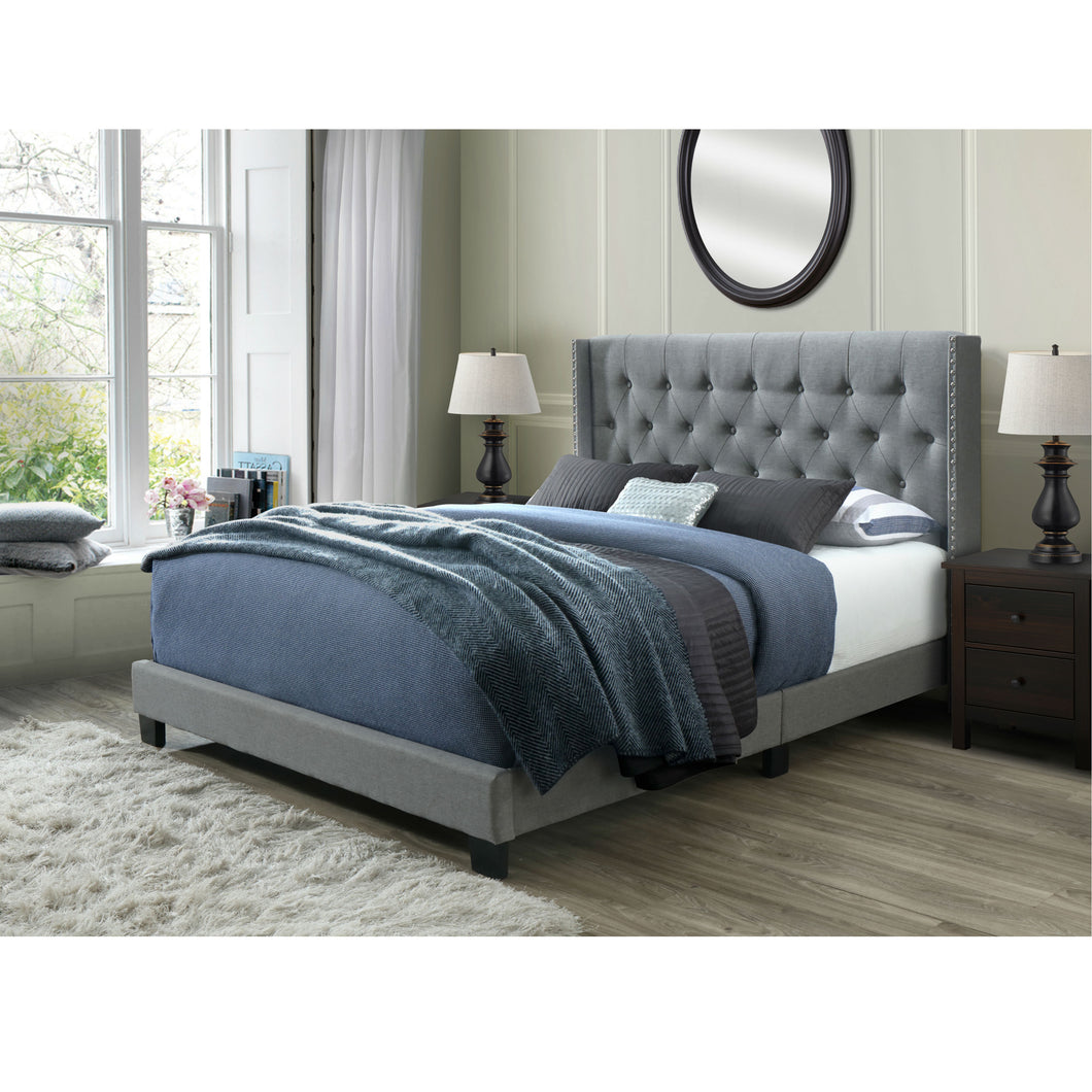 Bardy Panel Bed Frame, Queen in Gray