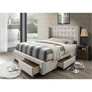 DG Casa Savoy Tufted Upholstered Wingback Panel Storage Bed, Queen in Beige Fabric