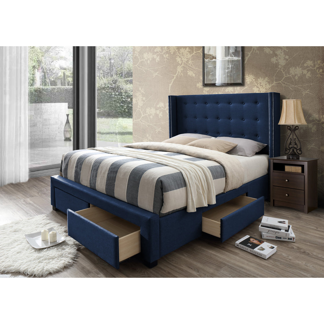 Savoy Panel Bed Frame with Storage Drawers, Queen in Blue