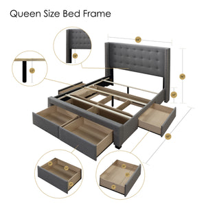 Savoy Panel Bed Frame with Storage Drawers, Queen in Beige