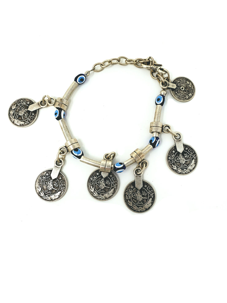 Belly Dance Evil Eye Beaded Anklet with Coins