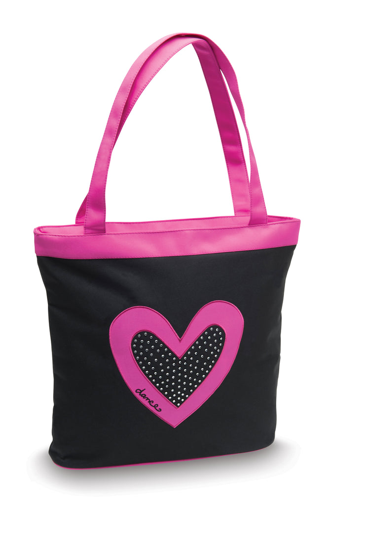 Dancer's Heart with Rhinestones Black Dance Bag by Danshuz