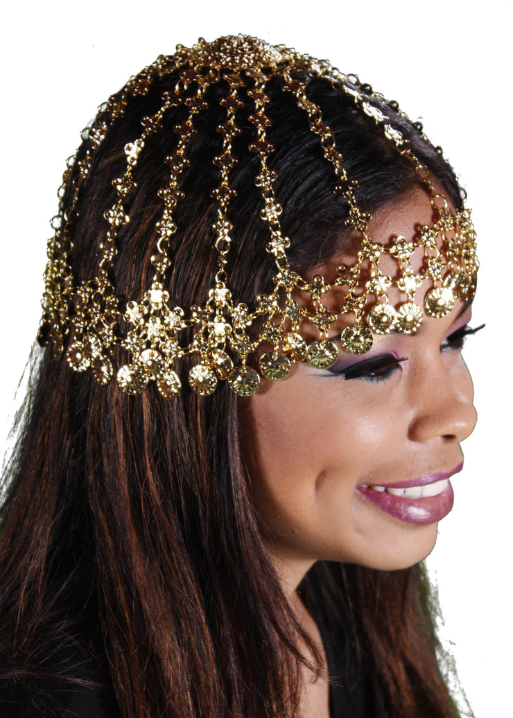 Belly Dance Coined Head Band Cap Headwear |  CLEO 1