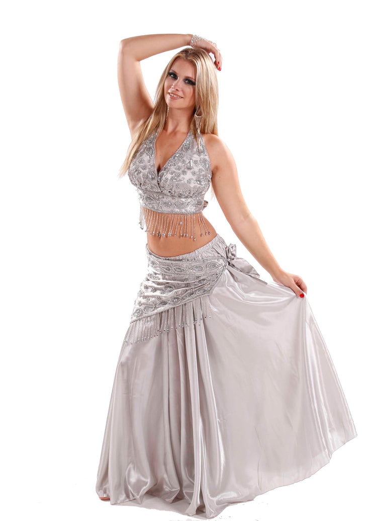 Belly Dance Sequins Bra, Scraf & Satin Skirt Costume Set |  ISIS' SWAY