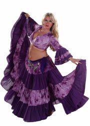 Belly Dance 25 Yard Patterned Skirt, Top & Hip Scarf Costume Set |  BATIK AND BELLY