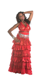 Belly Dance Ruffled Tribal Skirt, Halter Top & Coined Belt