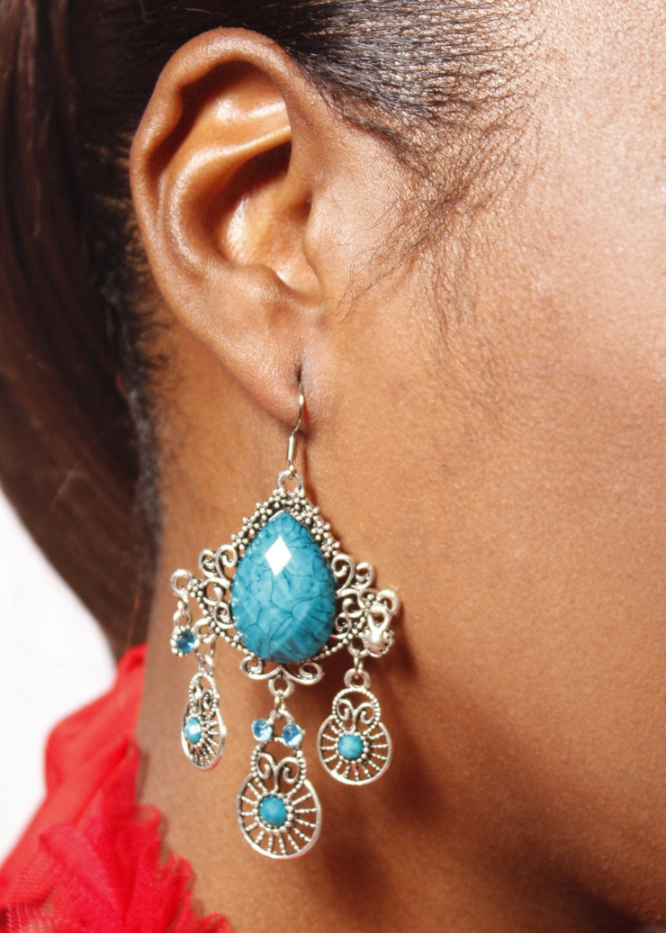 Belly Dance Large Stone Earrings | WATER DROPLET