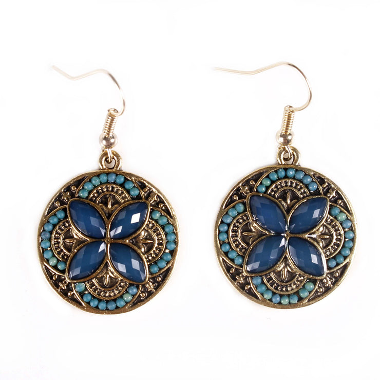 Belly Dance Flower Stoned Earrings | SUN STONE