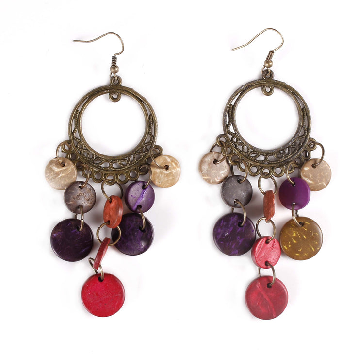 Belly Dance Circular Colorful Stoned Earrings |  RAQS CANDY