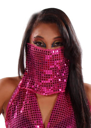 Belly Dance Colorful Disco Face Veil | Shimmering Face Veil & Cover