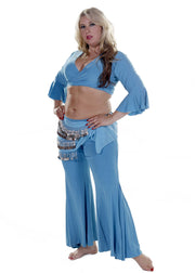 Belly Dance Plus Sized Lycra Harem Pants, Top & Hip Scarf Costume Set | Raqs Choli