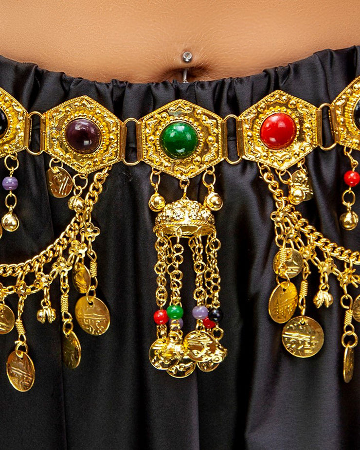 Belly Dance Coined Belt with Color Stone Jems