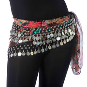 Belly Dance 3 Straight Row Patterned Hip Scarf | URBANA RAQS
