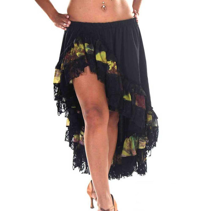 Belly Dance Black Lace with Pattern Skirt | Ruffles Skirt