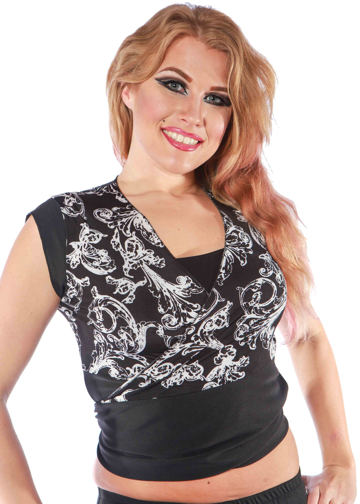 Belly Dance Black & White Wrap-Around Top | BETHANY'S TOP