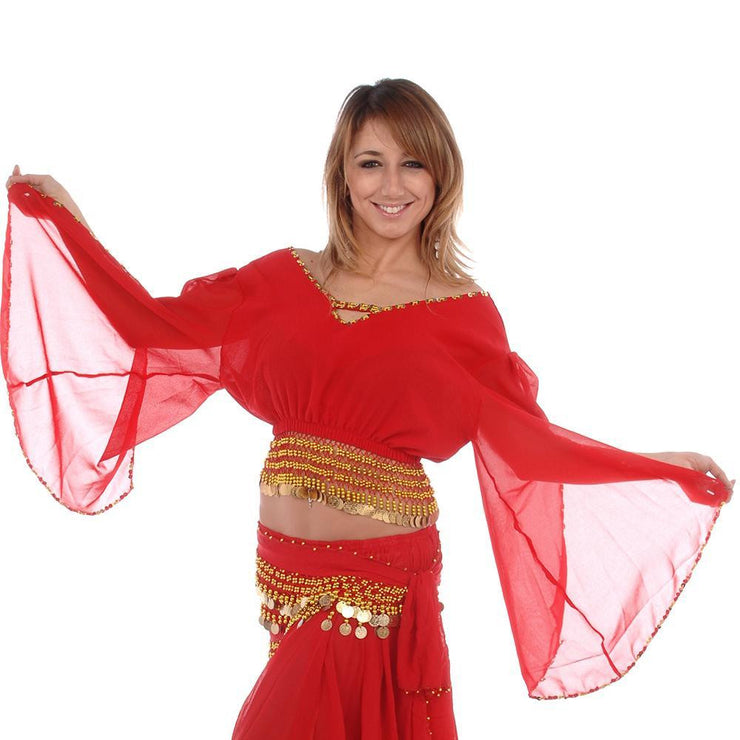 Belly Dance Chiffon Fluted Sleeve Top | ERASICA