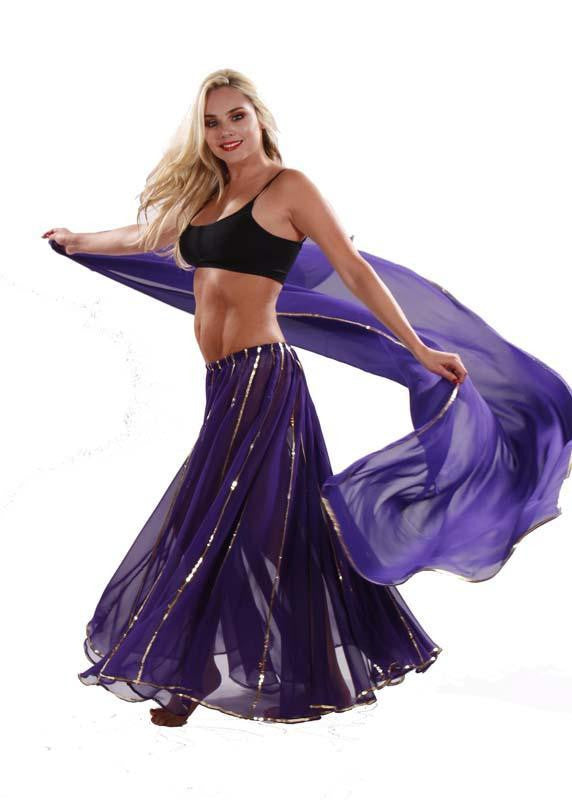 Belly Dance Chiffon Full Circular Skirt & Veil Costume Set | LUXOR