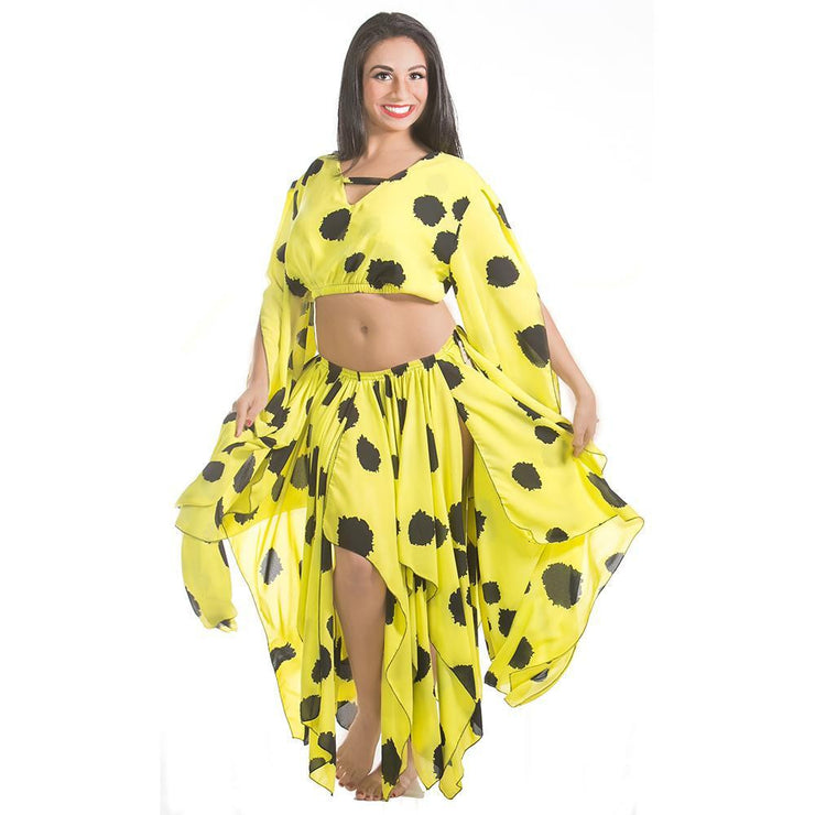 Belly Dance Chiffon Polka Dot Skirt, Top, & Coined Belt | SPRITE