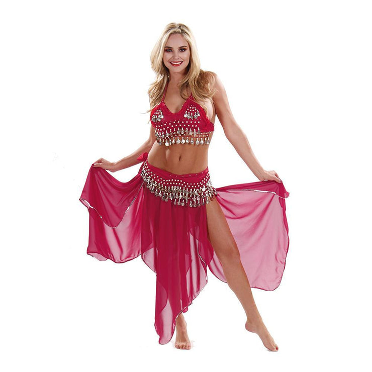 Belly Dance Chiffon Skirt, Top, & Hip Scarf Costume Set | PASSIONATE PERSUASION