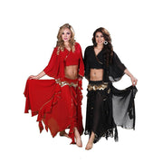Belly Dance Chiffon Skirt, Top, & Hip Scarf Costume Set | TOURE JAMILA
