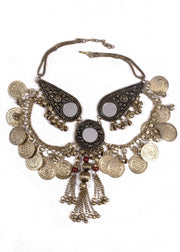 Belly Dance Coined Tribal Necklace with Mirrors | COINS AND MIRRORS