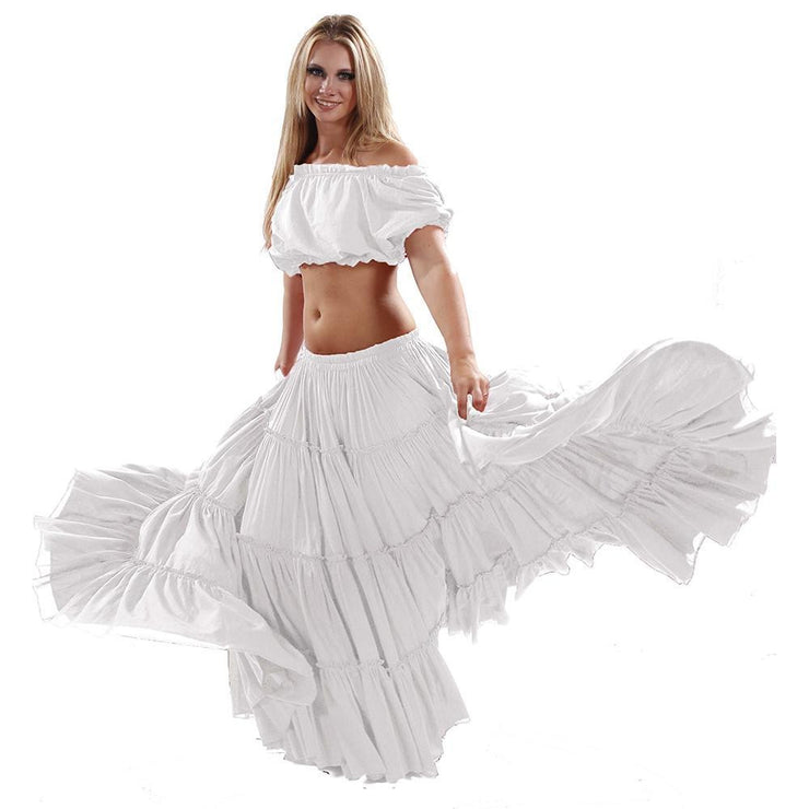 Belly Dance Cotton 25yrd Skirt & Top Costume Set | ROMANY & RAQS