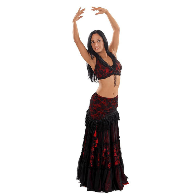 Belly Dance Double Layer Skirt, Halter Top, & Hip Skirt Costume Set | PERA TRIBES/DARBA