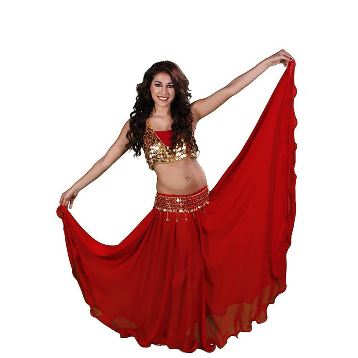 Belly Dance Full Circular Skirt, Coin Bra, & Belt Costume Set