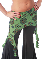 Belly Dance Green Patterned Hip Sash | HIP RAQS