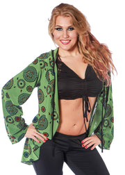 Belly Dance Green Patterned Hoodie | Pera Hoodie