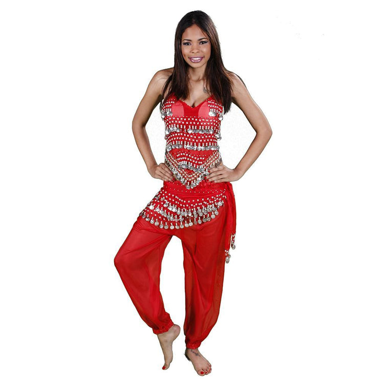 Belly Dance Harem Pants, Halter Top, & Hip Scarf Costume Set | THE BELLY DANCER