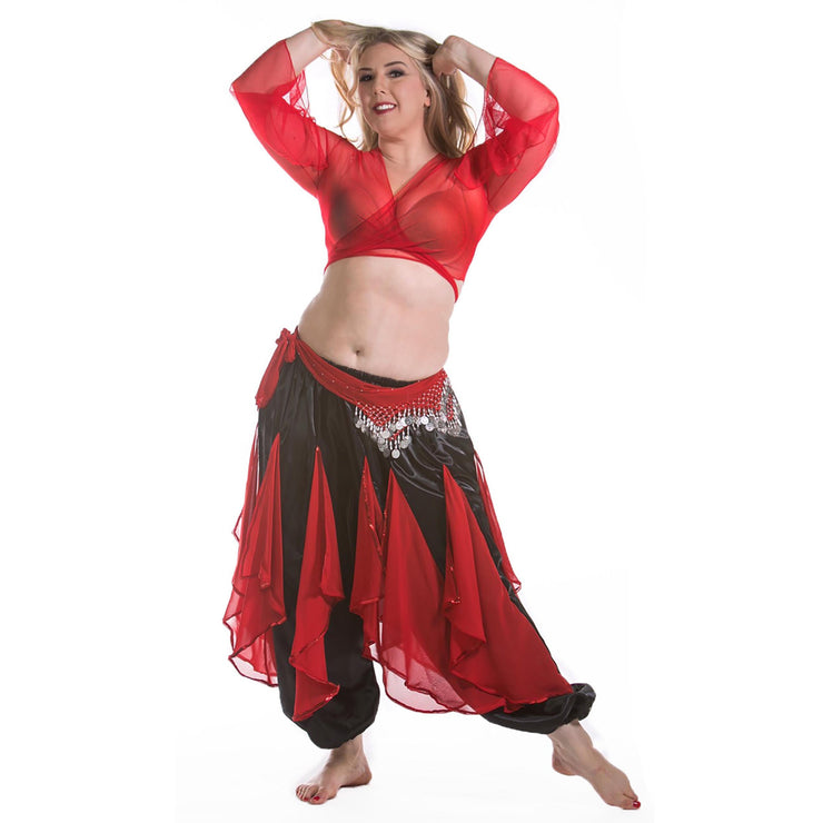 Belly Dance Harem Pants W/ Chiffon Flakes, Choli Top, & Hip Scarf | LAYLAT JAMILA